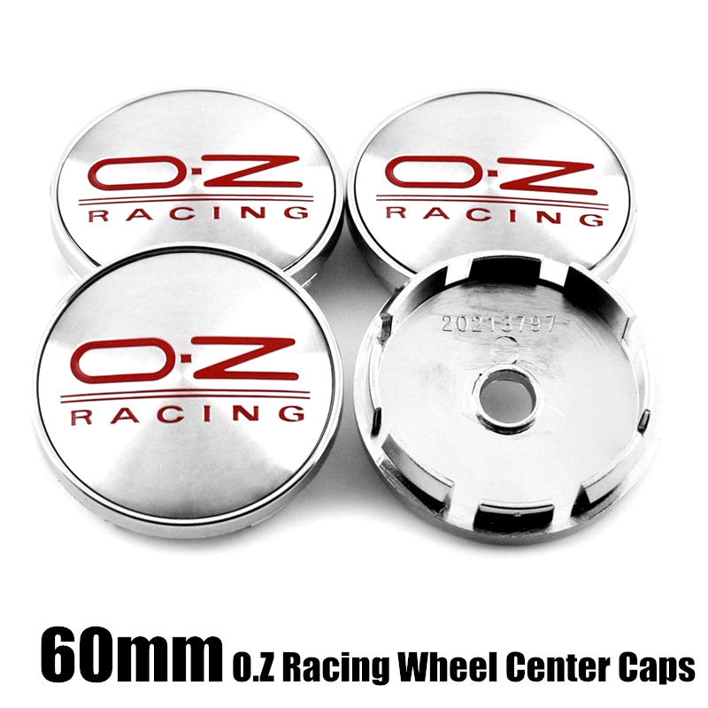 """4× 60mm 2.36"""" Car Wheel Center Hub Cap Cover Carbon Fiber OZ RACING Emblem Badge"""