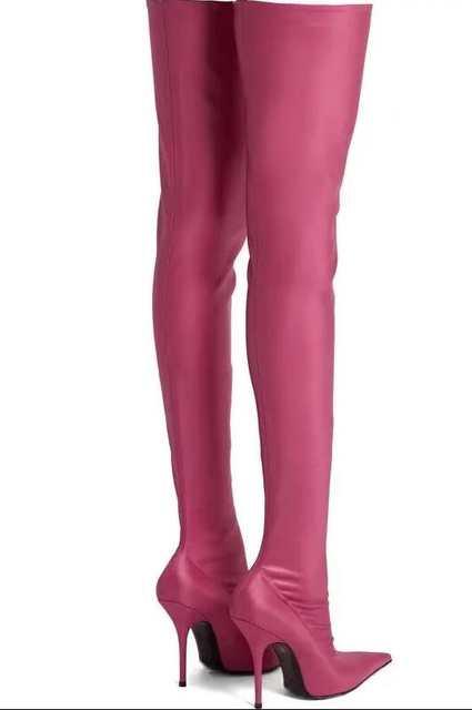 Großhandel Damen Schwarz Leder Overknee Stiefel Runway