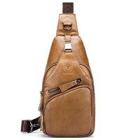 VSEN BULLCAPTAIN Genuine Leather Mens Messenger Bag Casual Crossbody Bag Men's Shoulder Bag Men's S