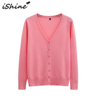 IShine Plus Size 5XL Woman Sweater Tops Knitted Long Sleeve V Neck Solid Color Casual Woman