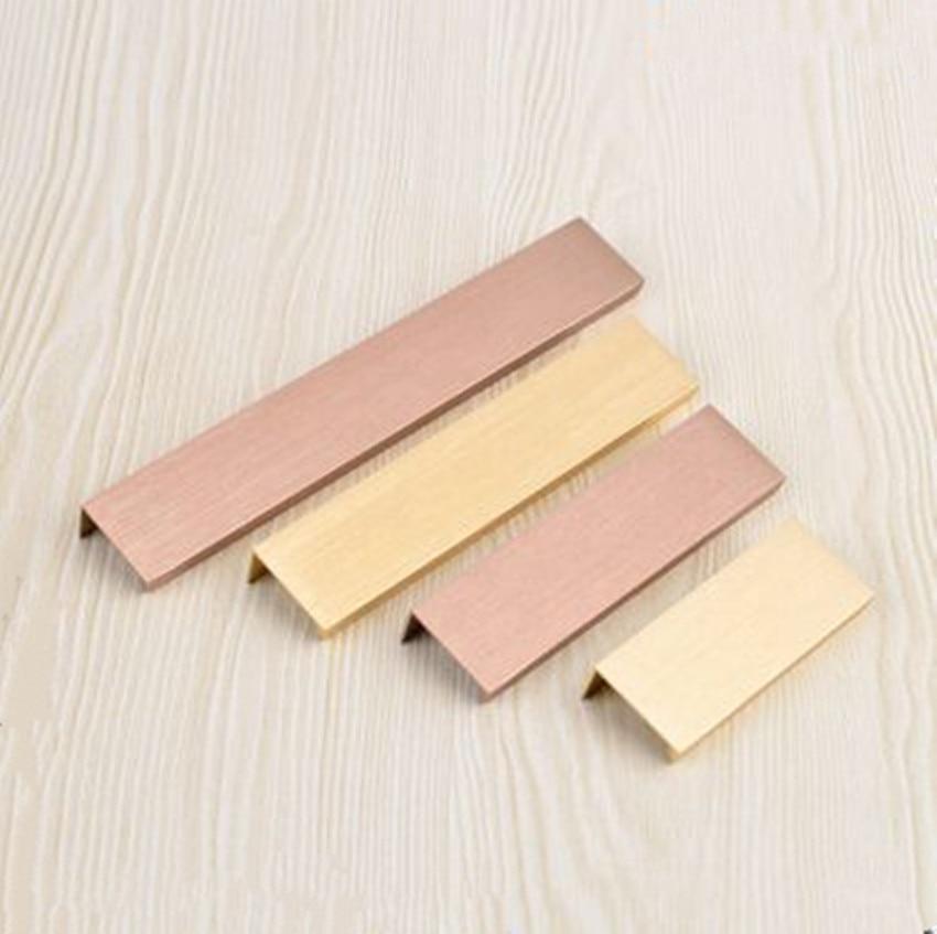 96 128 160 256mm Modern simple concealed cabinet drawer dark handle hide aluminum alloy cabinet door handle edge gold champagne sonex 256 sn15 000 provenc gold white