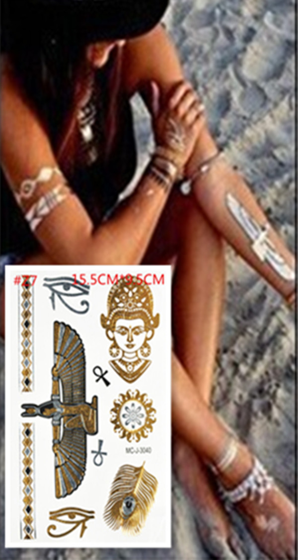 2015 hot egyptian gold tatoo temporary stickers sexy for Fake body tattoos