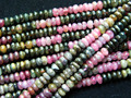 Wholesale (2 strands/set) natural tourmaline 3*6mm rondelle strand loose beads mix color stone for jewelry design making
