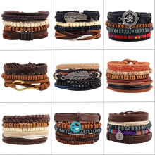 Vintage Alloy Handmade cowhide wooden beads beaded men women woven bracelets Combination set bracelet Cowhide Leather jewelry woven artificial leather beaded friendship bracelets set