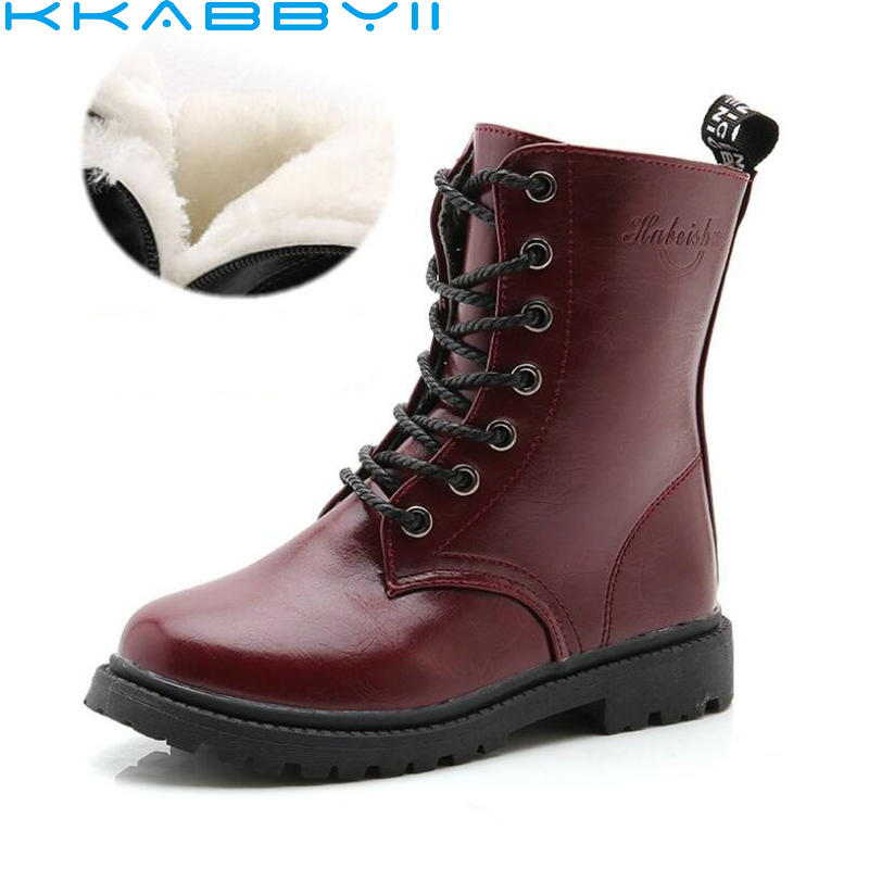 Boys Girls Boots Children's Winter Boots Shoes Waterproof Martin Boot Ankle For Kids Female Snow Fur Red Black
