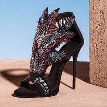 Amazing Luxury Colorful Crystal Leaf Decor Sandal Women Cut-out Stiletto Heel Ladies Sandals