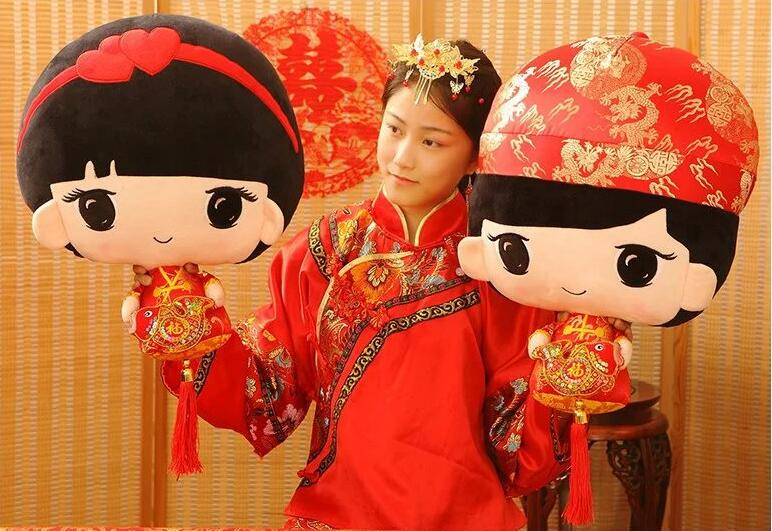 1 Pair Wedding Doll Gift Bride And Groom Marriage Gift Chinese Red Plush Toy Doll 50CM Free Shipping R-04 00009 red gold bride wedding hair tiaras ancient chinese empress hair piece