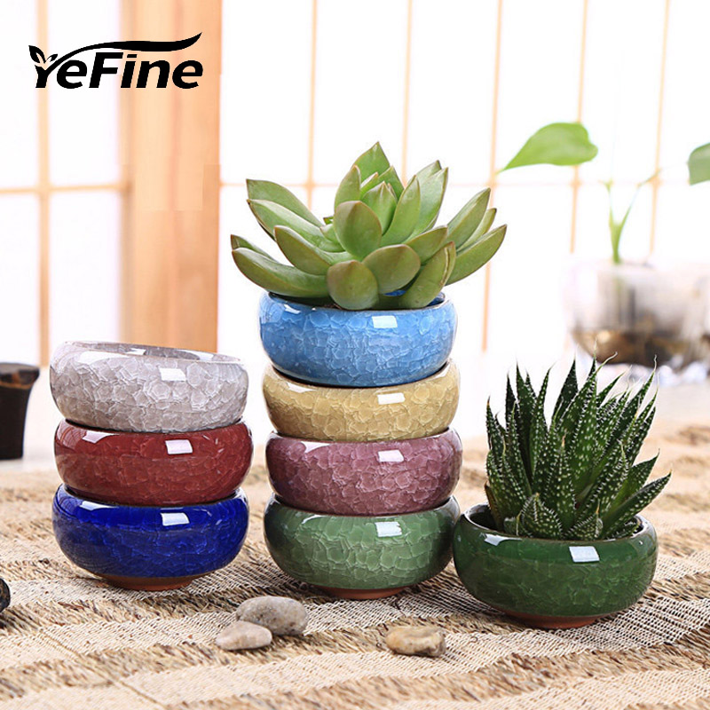 YeFine 8PCS/Lot Ice-Crack Ceramic Flower Pots For Juicy Plants Small Bonsai Pot Home And Garden Decor Mini Succulent Plant Pots