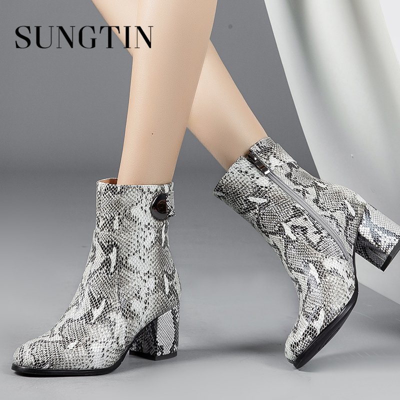 Sungtin Genuine Leather Print Autumn Boots Women High Heel Ankle Boots Womens Casual Short Riding Boots Fashion Ladies Booties цена 2017