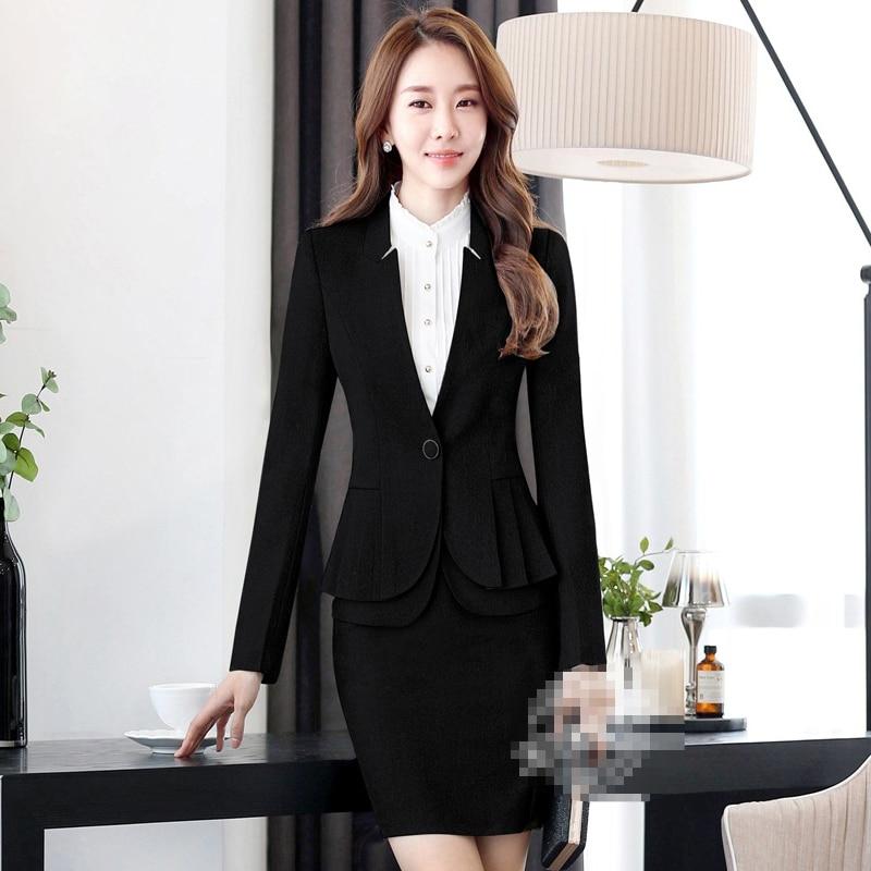 Professional Women Skirt Suits Blazers Autumn Business Ladies Office Work Wear White collar (jacket/Skirt /shirt / pants) - 6