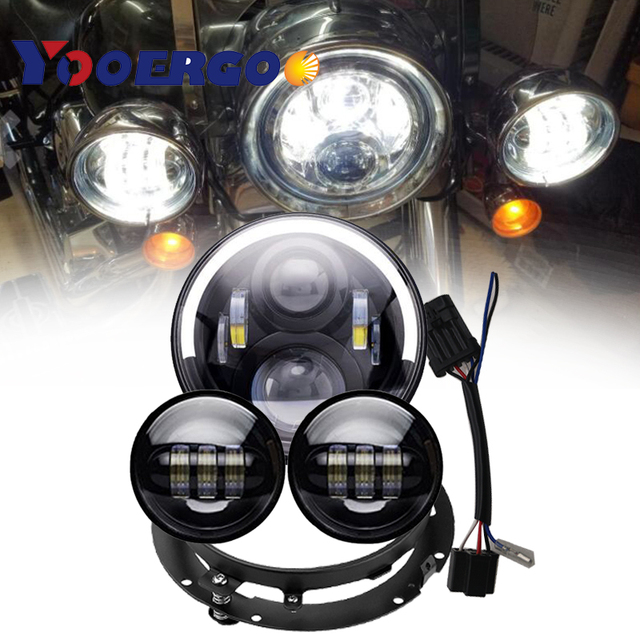 """7 inc LED Headlight 7"""" Mounting Bracket Ring 4.5 inch Fog Lights with DRL For  Street Glide Road King"""