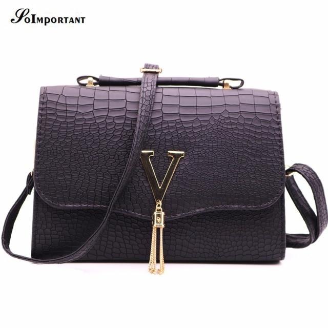 New Handtasche Women Leather Bag Alligator V Letter Tassel Bao Handbag Luxury Croco Casual