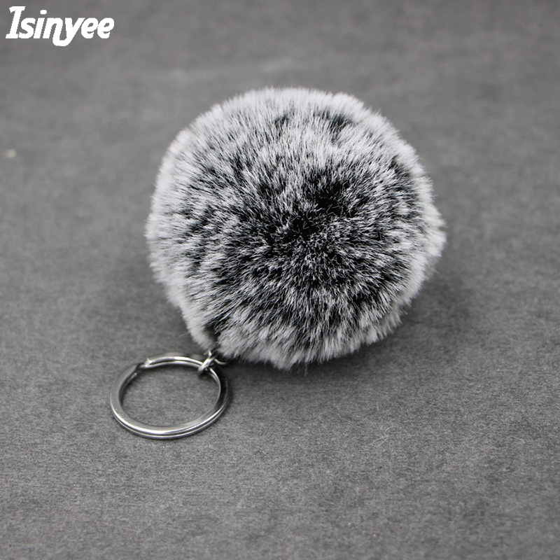 ISINYEE Fashion Snowflake Pom Pom Soft Ball Keychain Women Bag Cars Fake Rex Rabbit Fur Fluffy Pompom Key Chains Keyring Pendant