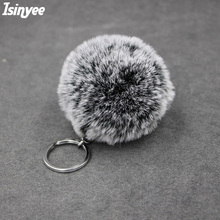 ISINYEE Faux Rabbit Fur Snowflake SoftBall Pompom Keychain For Women Bag Cars Pom Pom Fluffy Key Chains Keyring Pendant