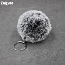 ISINYEE Rabbit Fur Snowflake SoftBall Pompom Keychain For Women Bag Cars Pom Pom Fluffy Key Chains Car Keyring Pendant Wholesale