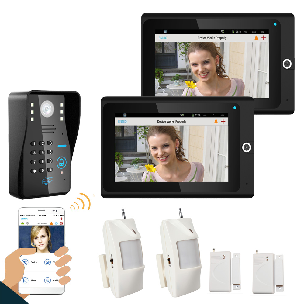 Popular 7 2 Monitor WiFi Wireless RFID Password Video Door Phone intercom Doorbell IP Camera IR Night Vision Home Alarm System выключатель legrand quteo 2 клавишный серый 782332