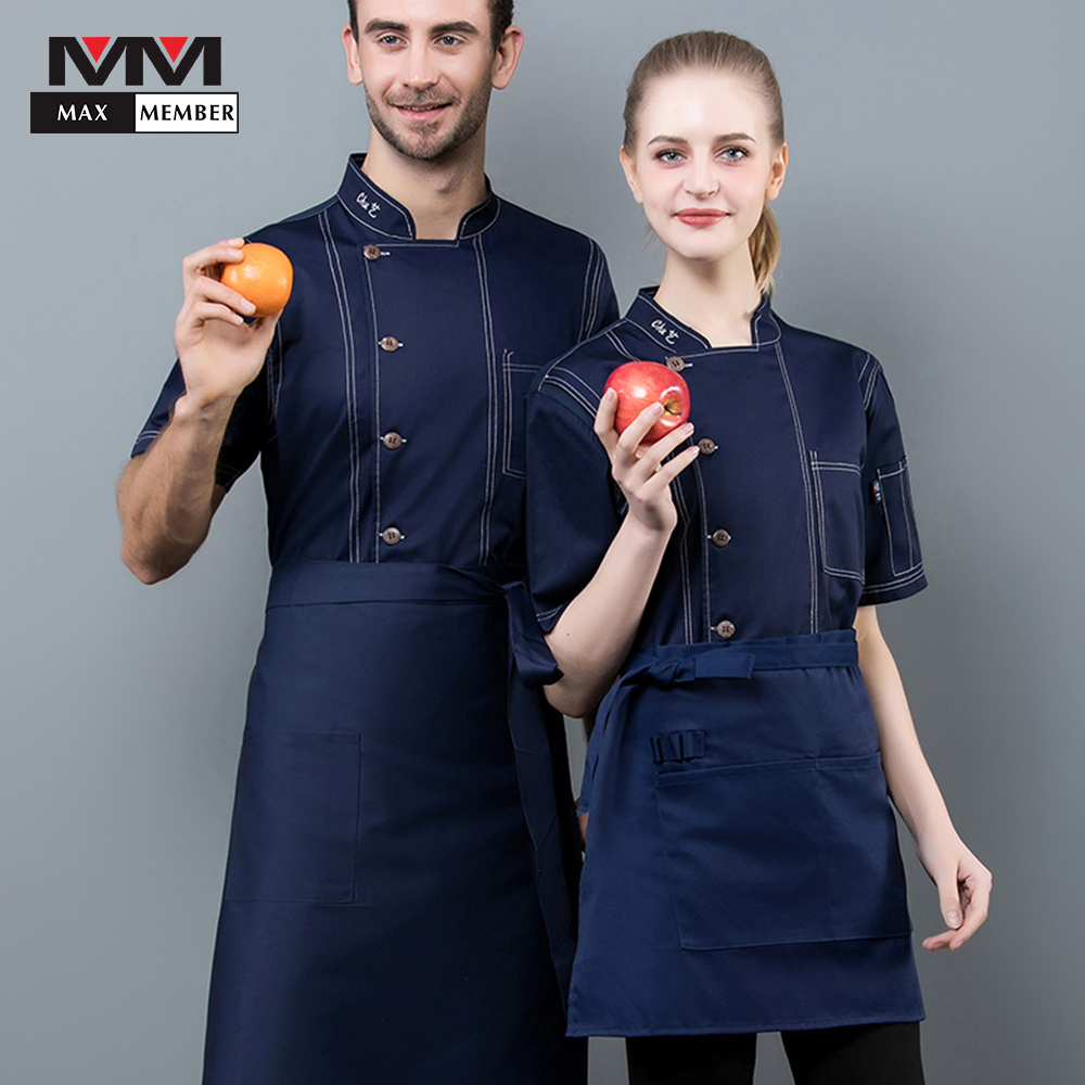 2019 Summer High Quality Chef Uniforms Clothing Short Sleeve Men Food Services Cooking Clothes 4Colors Uniform Chef Jackets