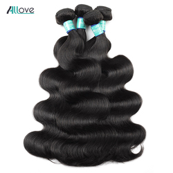 Allove Body Wave Bundles Peruvian Hair Weave 1 3 4 Bundles Deal 8-28 Inch Human Hair Extensions Natural Color Remy Hair Bundles