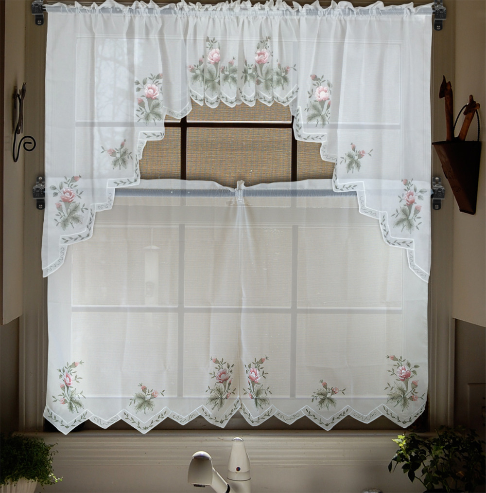 Embroidery Valance Sheer Short Tulle Window Curtains For Kitchen Bedroom Tier Set Panel