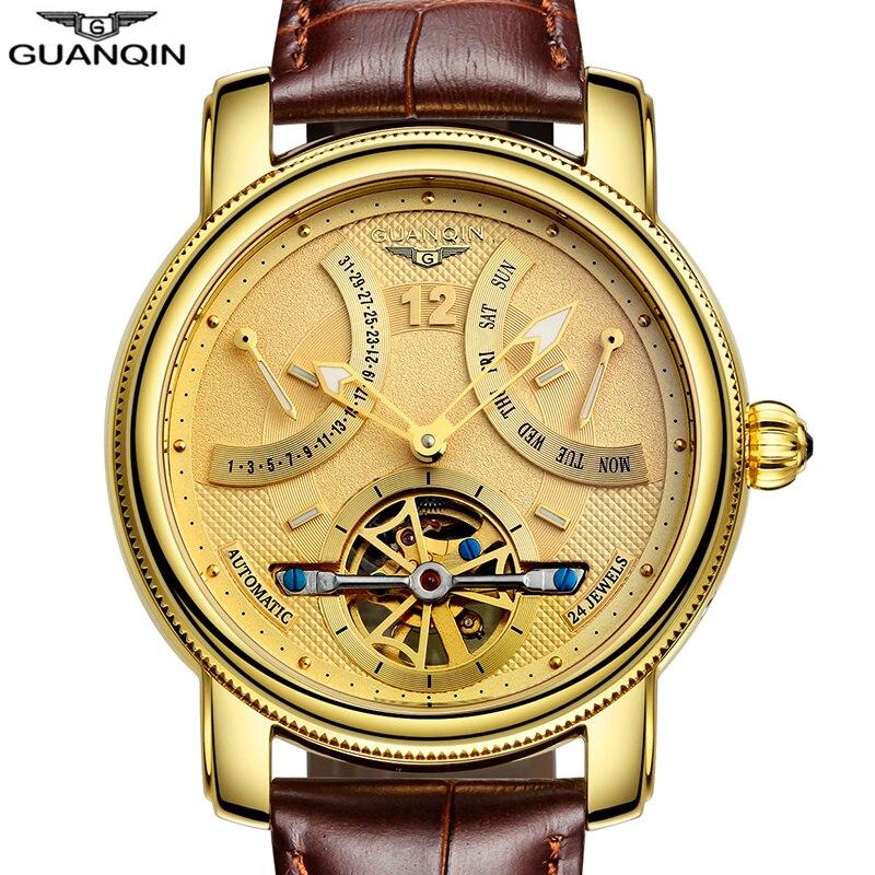 GUANQIN 2019 Mechanische Automatische klok waterdicht goud Merk Luxe Horloge Mannen Tourbillon Horloge week maand display Horloge-in Mechanische Horloges van Horloges op  Groep 3