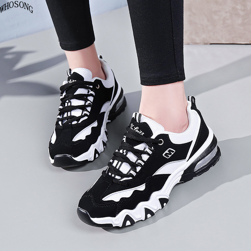 WHOSONG New Fashion Sneakers Women Breathable Mesh Casual Shoes Woman Lace up Basket Femme Trainers Ladies Chunky Sneakers M158 in Women 39 s Vulcanize Shoes from Shoes