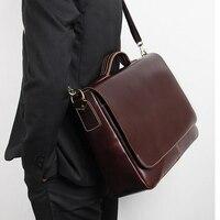 Верхний слой кожи мужская сумка масло воск из натуральной коровьей кожи портфель подходит для 15 дюймов ноутбук сумка мужчина деловая сумка