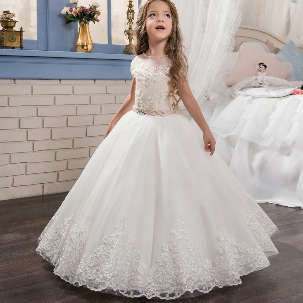 2017 Flower Girl Dresses Beading O-neck Lace Up Bow Sash Sleeveless Ball Gown Custom Made First Communion Gown Vestidos Longo 2018 purple v neck bow pearls flower lace baby girls dresses for wedding beading sash first communion dress girl prom party gown