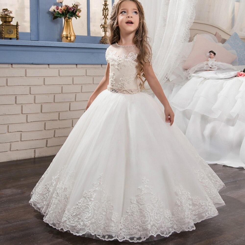 2017 robes de demoiselle d'honneur perles col rond à lacets nœud ceinture sans manches robe de bal sur mesure première Communion robe Vestidos Longo