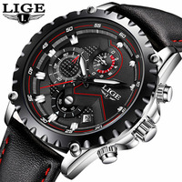 LIGE Brand Sport Men Watch Luxury Chronograph Leather Quartz Military Waterproof Wrist Watch Men Clock Male