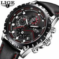 LIGE Brand Sport Men Watch Luxury Chronograph Leather Quartz Military Waterproof Wrist Watch Men Clock Male