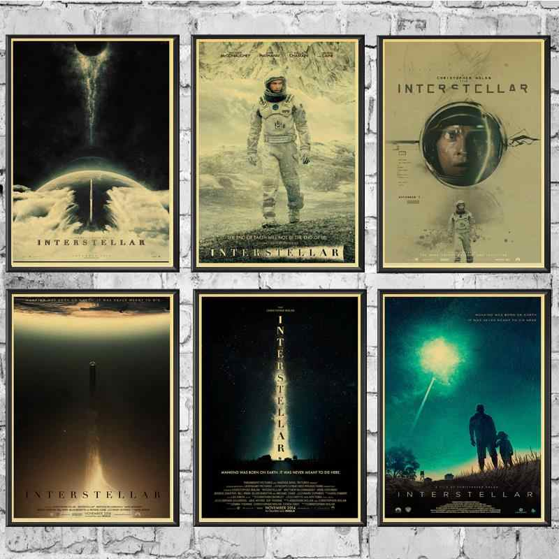 Movie Poster Interstellar Posters Wall Stickers Retro Poster Prints High Definition For Living Room Home Decals