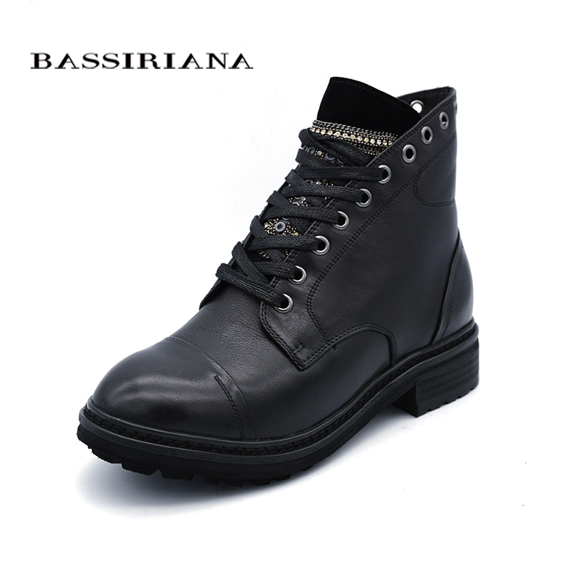 BASSIRIANA new 2017 genuine leather shoes woman ankle boots winter round toe lace-up square heel nature wool black size 35-40 bassiriana new 2017 winter high boots shoes woman high heels round toe zipper genuine leather and suede black 35 40 size