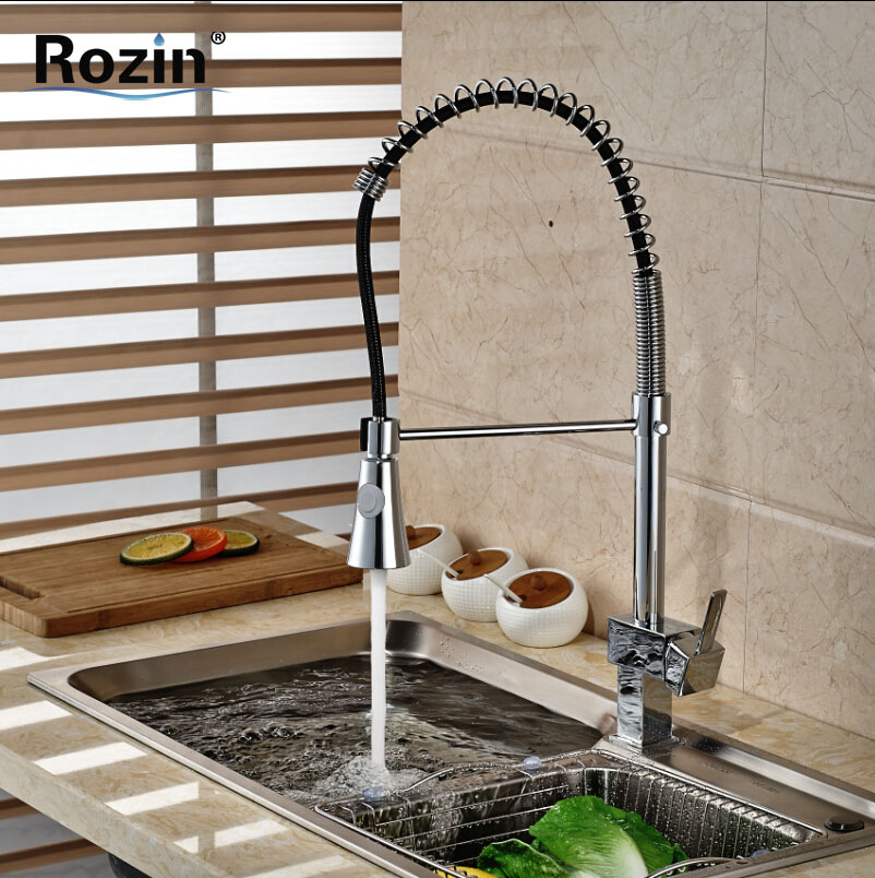 ФОТО Single Handle Dual Swivel Sprayers Kitchen Mixer Faucet Deck Mount Kitchen Bar Hot and Cold Water Taps