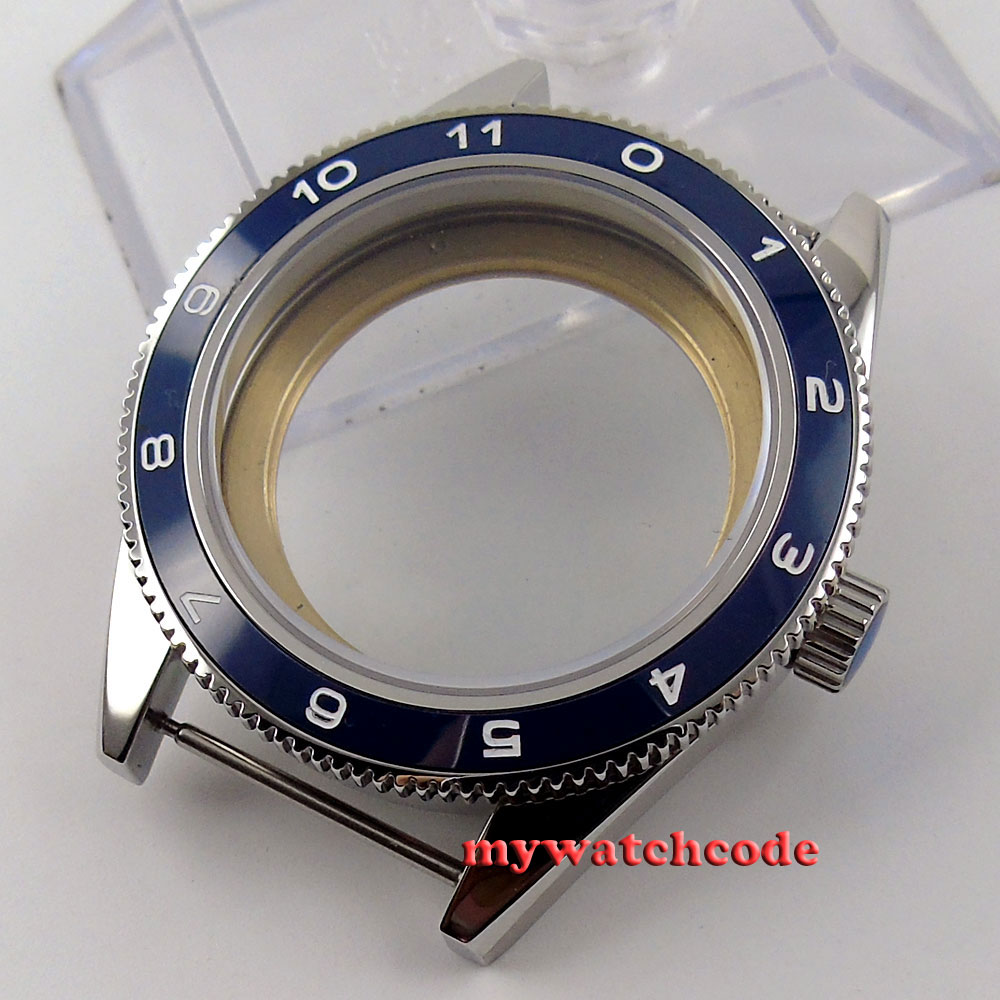 41mm blue ceramic bezel sapphire cystal Watch Case fit ETA 2824 2836 MOVEMENT 71 цена и фото