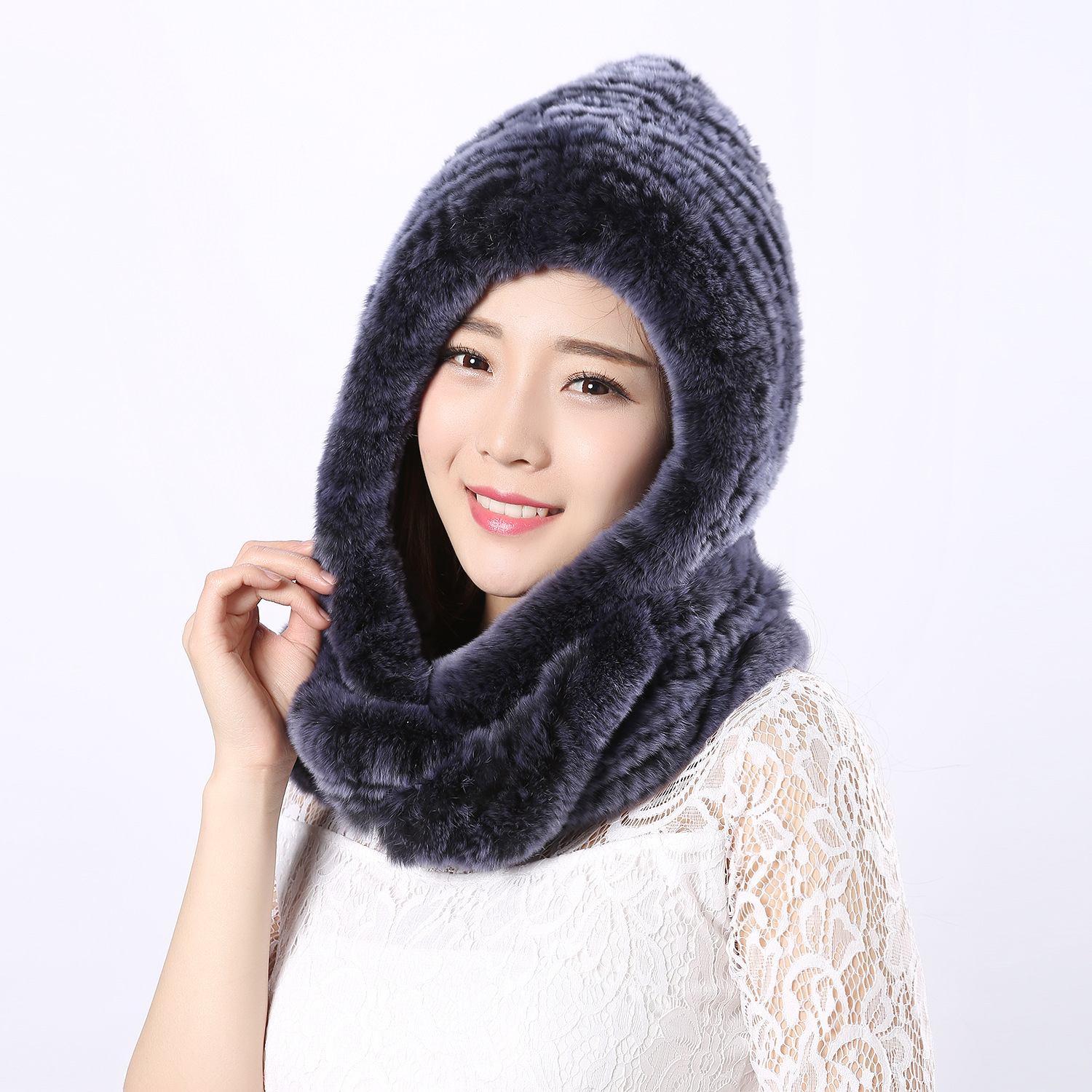 2017 new and hot Autumn and winter fashion genuine rabbit fur woven women scarf hat lady ring warm for girl friends wife gift rabbit hair lady autumn winter new weaving small pineapple fur hat in winter to keep warm very nice and warm comfortable