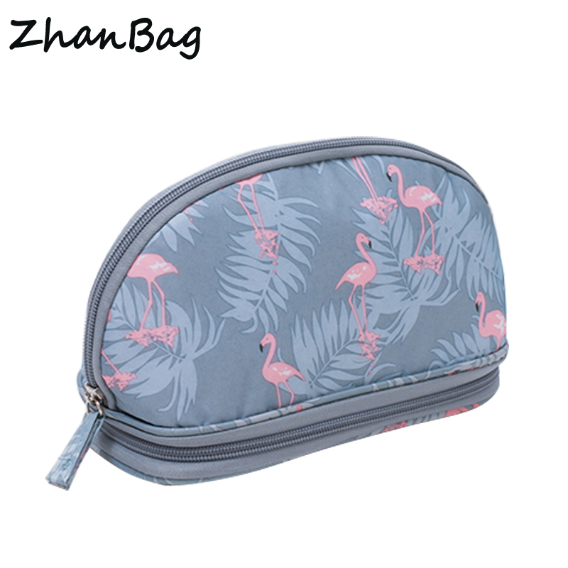 Da donna Flamingo Sacchetto Cosmetico di Viaggio Portatile Sacchetti di Trucco di Caso Per Cosmetici Uomini Cactus Organizer Spazzola Cassa di Matita Zhanbag 213