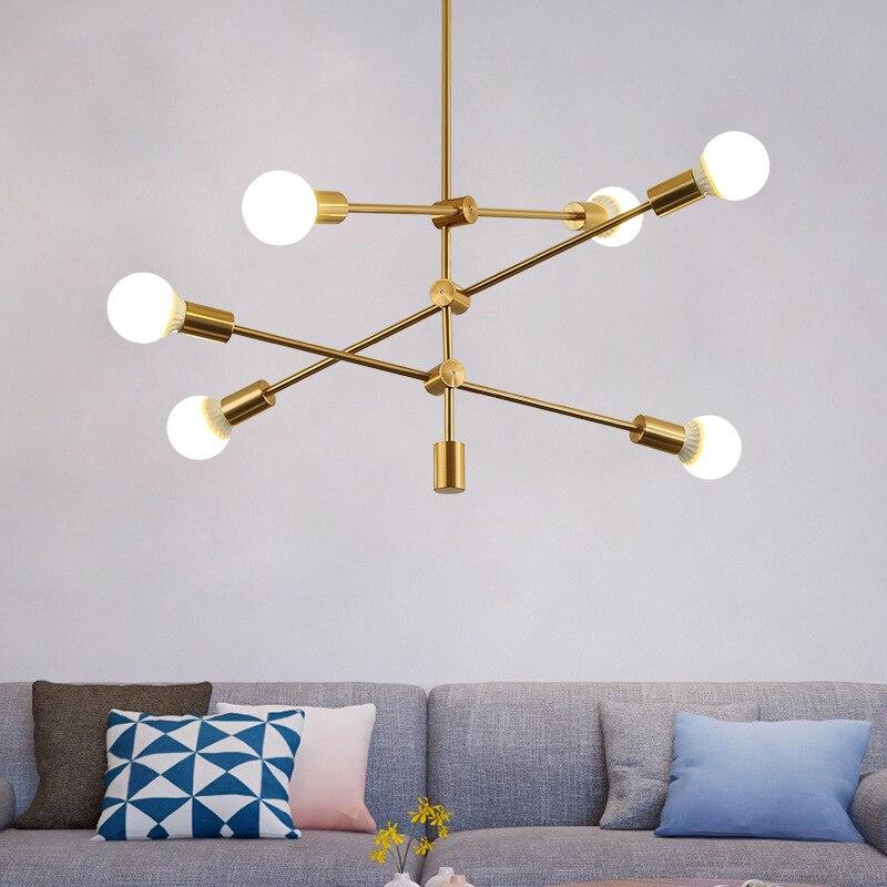 Brushed Brass Metal Sputnik Branch Chandelier Modern Ceiling Lights Nordic Postmodern Style Chandelier Room Lamp 90-265v
