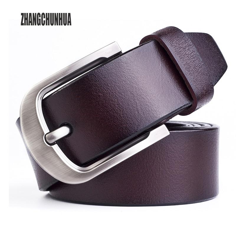 Men's Belt Male Genuine Leather Strap Gifts For Men Luxury Pin Buckle Fancy Vintage Jeans Leather Belt Men Cintos Masculinos B02
