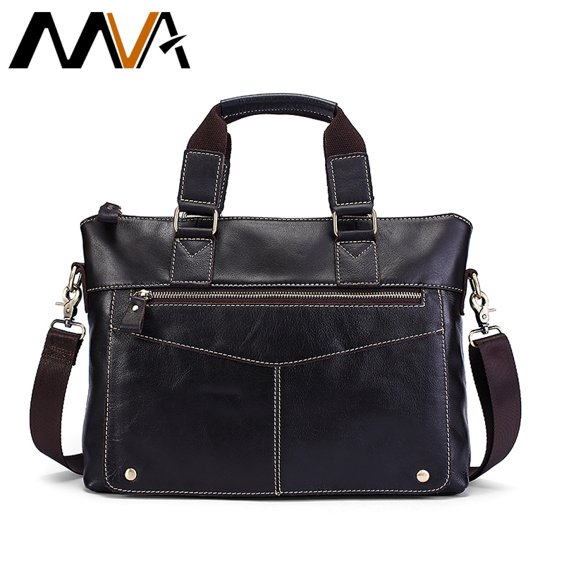 MVA 2018 Men Shoulder Bags Laptop Messenger Bag Men Leather Handbag Totes Casual Crossbody Bags for Man Genuine Leather Bag Male augus 100% genuine leather laptop bag fashional and classic crossbody bags leather for men large capacity leather bag 7185a