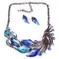 2016 Azul Jewerly Sets Púrpura Esmalte Crystal Peafowl Collar y Aretes de Joyería de Moda de Las Mujeres