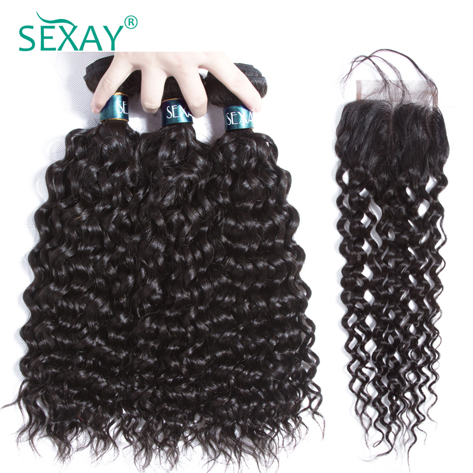 Sexay Brazilian Water Wave Hair Bundles With Lace Closure One Pack Black Remy Hair Extensions Human Hair Bundles With Closures