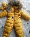 2016 de Pato Para Baixo Macacão de Bebê Inverno Meninos Grossas Meninas Traje Quente Snowsuit Infantil Kid Jumpsuit Crianças Outerwear Desgaste Do Bebê