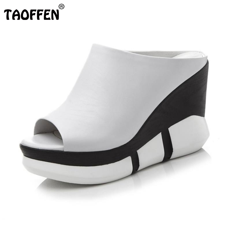 TAOFFEN Women High Wedges Sandals Real Leather Fashion Slippers Peep Toe Shoes Women Platform Daily Heel Footwear Size 34-39 taoffen women high heels sandals real leather peep toe shoes women buckle clear thick heel sandals daily footwear size 34 39