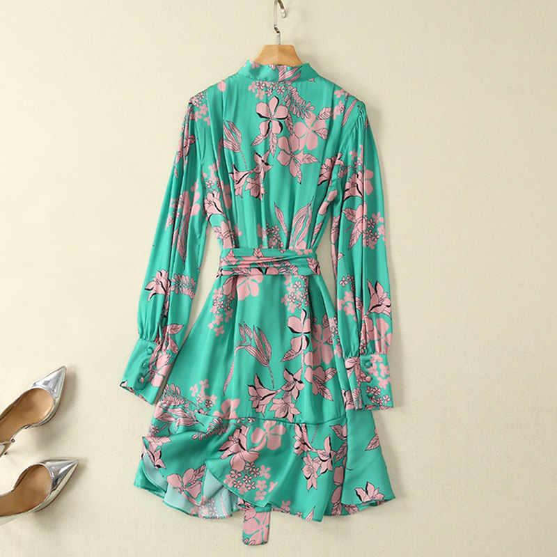 Розовые цветочные печатные зеленые женские повседневные платья лето в стиле Boho sundresses на пляжная повязка с бантом воротник с длинным рукавом lap платье