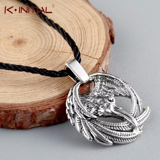US $2 1 50% OFF|Kinitial Vintage Norse Animal Raven Necklace Odin's Viking  Pendants Necklaces Crow Runes for Unisex Amulets jewelry-in Pendant