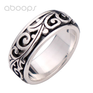 Vintage 925 pierścień obrotowy ze srebra wysokiej próby z liści winorośli dla kobiet mężczyzn, darmowa wysyłka