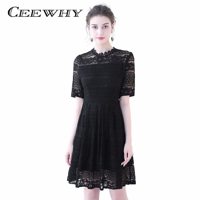 Ceewhy Illusion Red Little Black Dress Short Sleeve Lace Dress Knee