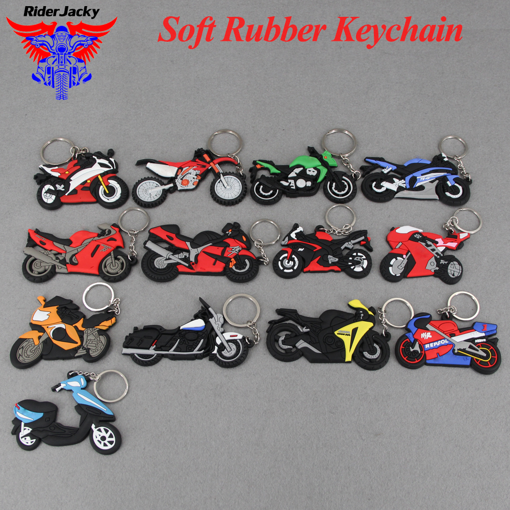 Motorcycle Model Shape SOFT RUBBER KEYCHAIN KEYRING KEY CHAIN KEY RING For Honda Kawasaki BMW Harley Suzuki Yamaha With Logo