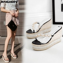 TINGHON Summer Wedge Slippers Platform High Heels Women PVC Rhinestone Outside Shoes Wedge Slipper Beach wild slides Sandals цена