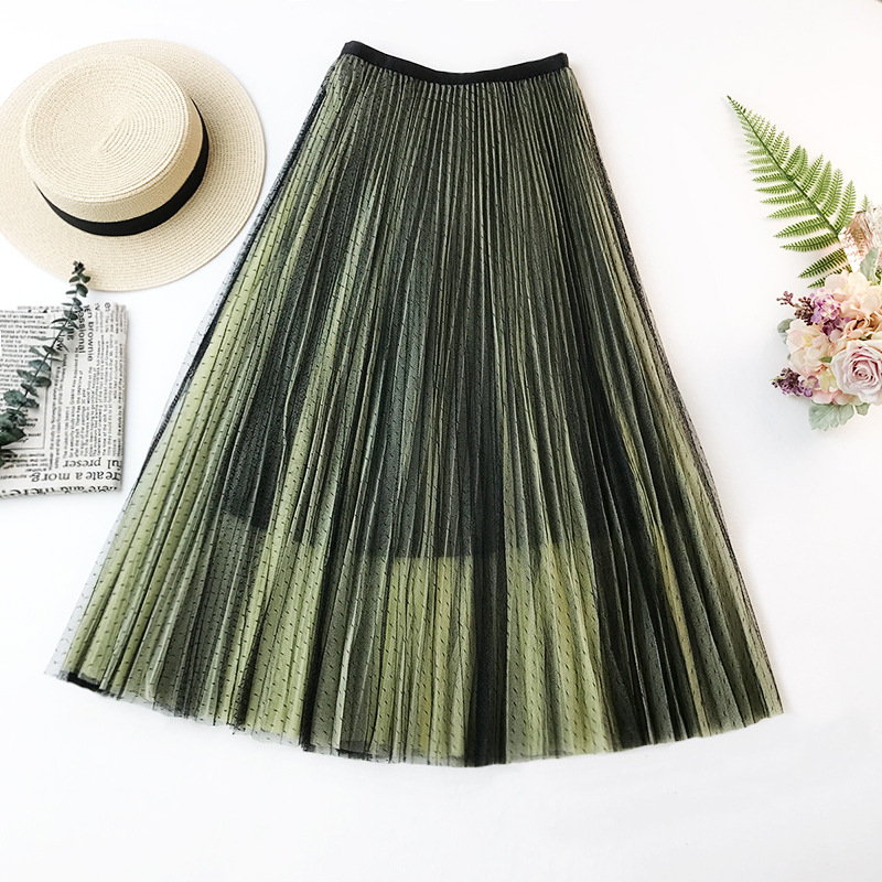 Wasteheart Purple Gray Lace Women Skirt Casual Women High Waist Pleated Ankle Length Skirts Mesh Clothing All-match Plus Size